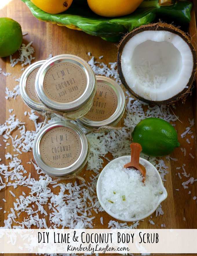DIY Body Scrub Tutorial on KimberlyLayton.com {Lime & Coconut}