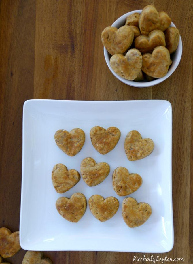 Homemade Dog Treats - Peanut Butter Hearts - KimberlyLayton.com